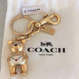Coach Teddy Bear Keychain NWT